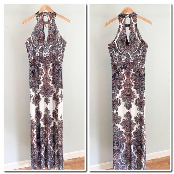 77c239fb543 Abbeline Keyhole Maxi Print Dress